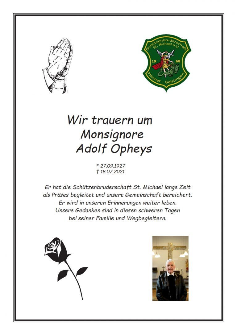 Read more about the article Trauer um Msgr. Adolf Opheys 2021